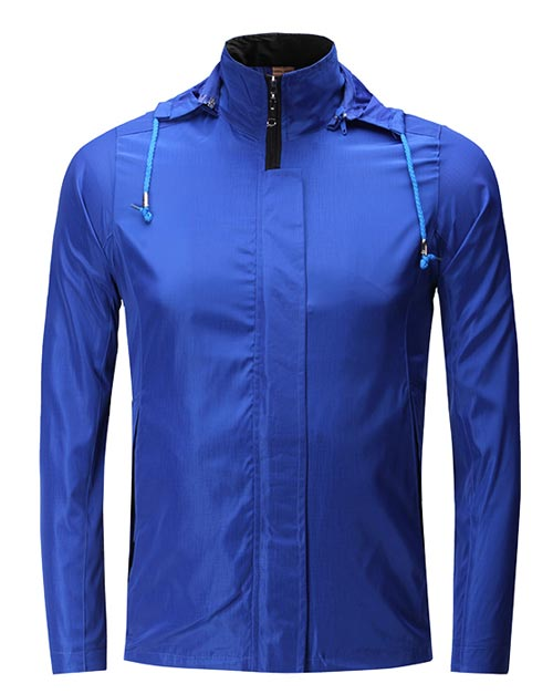 连帽蓝色订做风衣厂家价格与款式