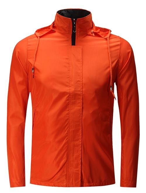橙色连帽定制防水风衣外套款式