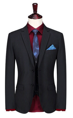 修身版商务条纹正装西装套装定
