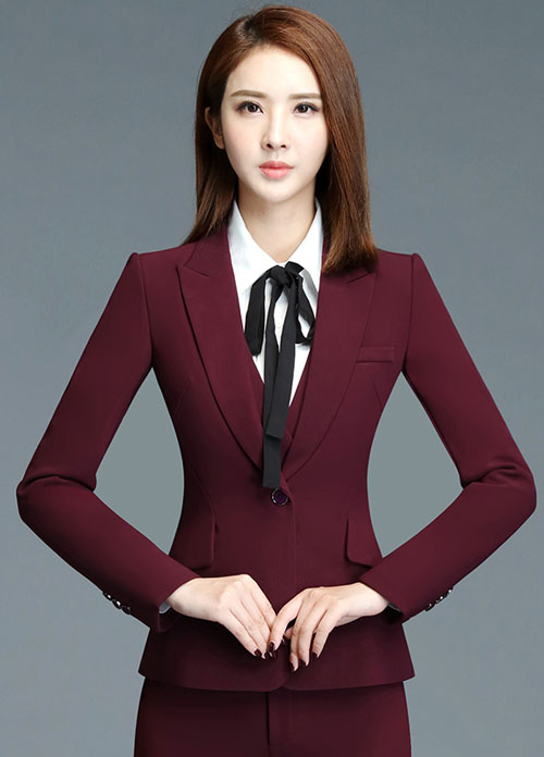 酒红色时尚女职业西装定制款式
