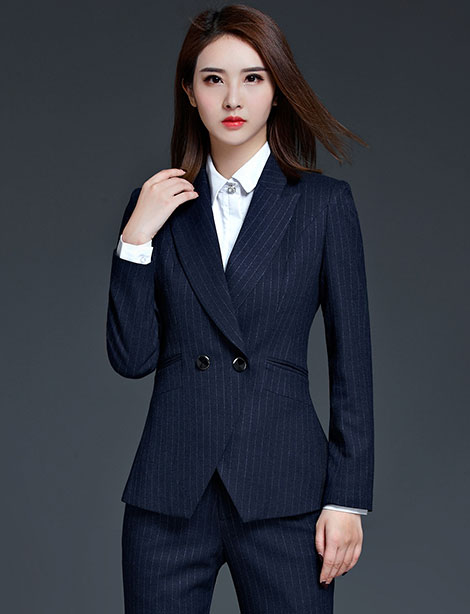 时尚条纹女士职业套裙西装定制