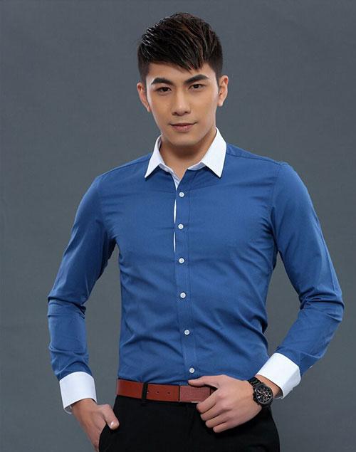 深蓝色配白领职业衬衫定制款式