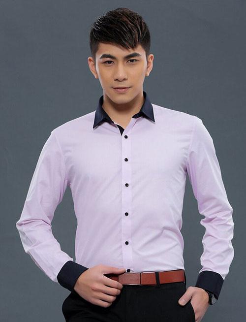紫色黑领修身商务男衬衫定做