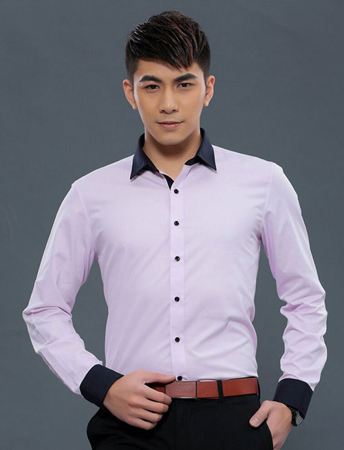 <b>紫色黑领修身商务男衬衫定做</b>