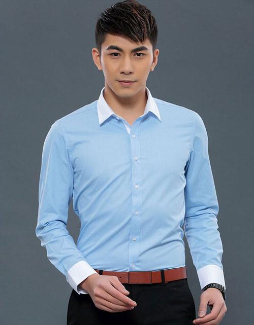 <b>浅蓝色职业衬衫工作服订做</b>