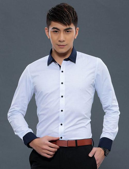 白色配黑领外修身衬衫定做款式