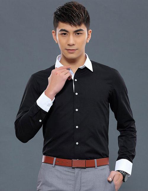 <b>黑白拼色款定制衬衫款式图</b>