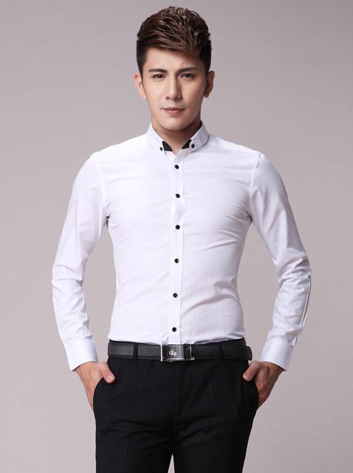 白色韩版修身男士衬衫订做款式
