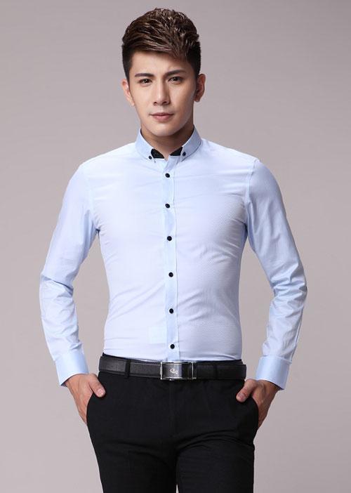 浅蓝色修身男衬衫定做价格款式