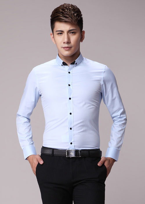 <b>浅蓝色修身男衬衫定做价格</b>