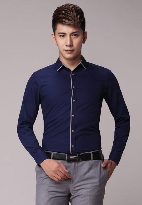 <b>深蓝色嵌边款定制工作服衬衫款式图</b>