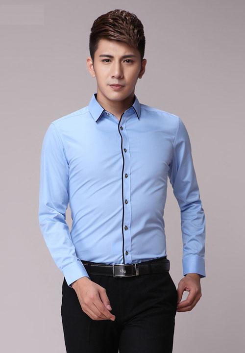 浅蓝嵌黑边款订做职业装男衬衫款式图