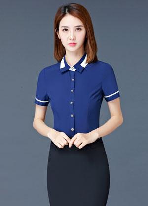 蓝色嵌边款女衬衫定制款式