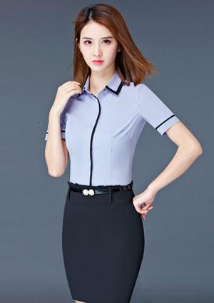 灰色嵌黑边短袖女衬衫定