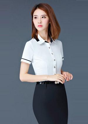 白色嵌黑边时尚女衬衫订做款式