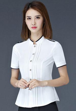 时尚白色女衬衫工作服订做款式