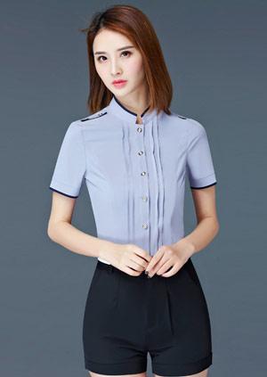 <b>时尚灰色工作服女装衬衫定制款式</b>
