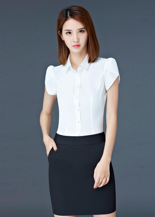 白色定做短袖女衬衫款式