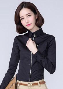 黑色长袖衬衫女装订做款式图