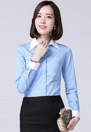 浅蓝色新款长袖女衬衫定做款式图