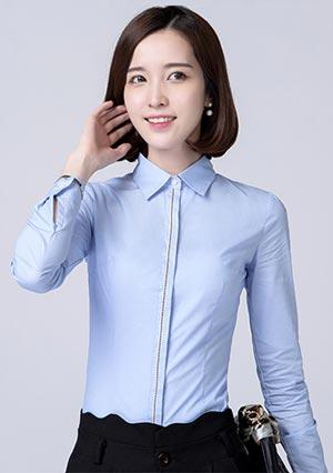门襟嵌边长袖女士衬衫工作服定