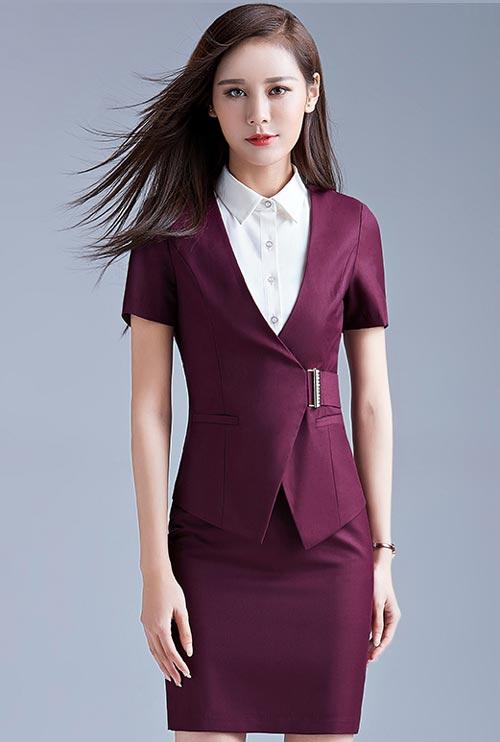 紫色款专柜营业员工作服订做款式