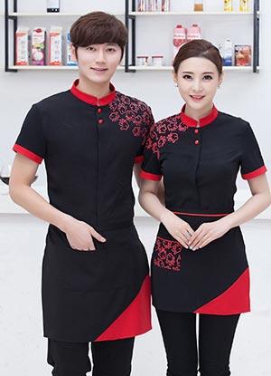 <b>黑色餐饮服务员工作服套装款式</b>