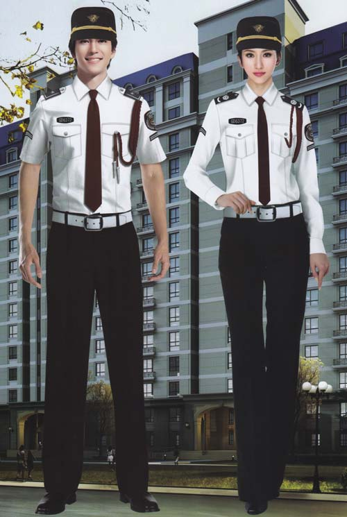 白色时尚保安工作服套装定制款式