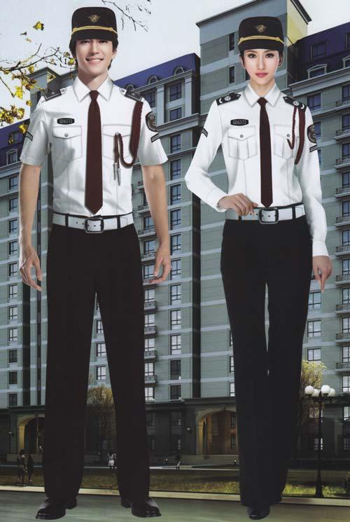 <b>白色时尚保安工作服套装定制款式</b>
