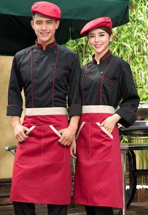 <b>黑色长袖厨师服套装定做款式图</b>