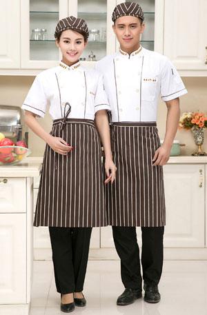 白色短袖厨师服装定制