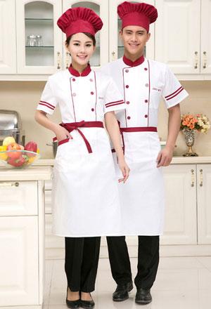 <b>新款红白搭配短袖厨师服定做款式图</b>