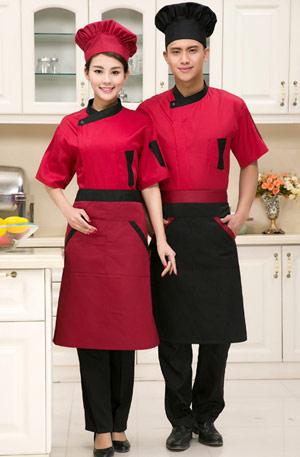 <b>红色黑领时尚短袖厨师工作服订</b>