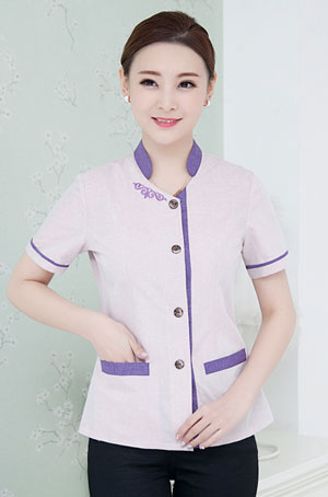 高档女装短袖保洁员服装套装款式图