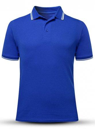 蓝色t恤衫定制丝印刺绣LOGO图