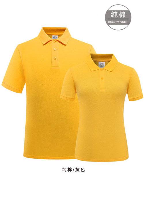 黄色纯棉短袖polo衫定制