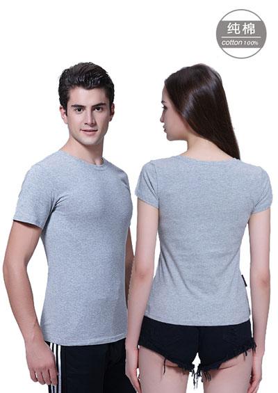 花灰色短袖女圆领T恤衫_文化衫