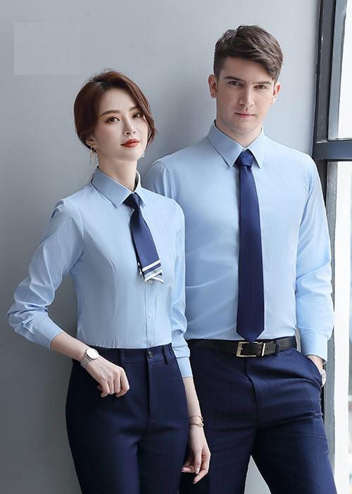 时尚男女款职业长袖衬衫定做_